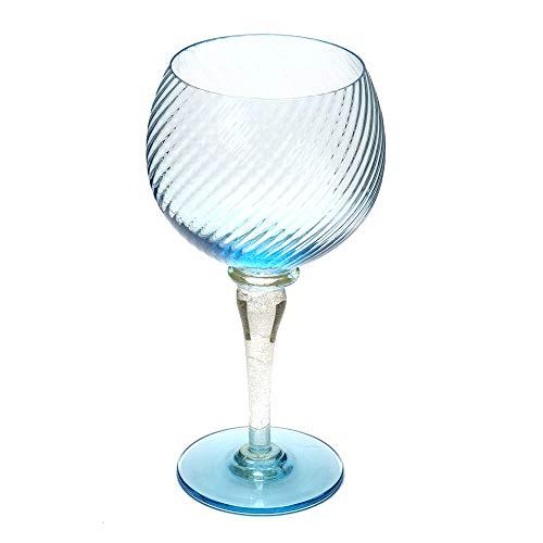 イタリア製 ワイングラス 470ml シャルドネ モンラッシェ 白ワイン用 ベネチアングラス ムラノガラス ブルー ステム 水色 金 italy etr-08