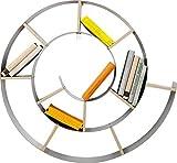 Kare 70755 Snail - Scaffale da parete, Lamiera d acciaio trattato con vernici in polvere, pannello di truciolato rivestito, Argento, 73.5 x 81.5 x 13