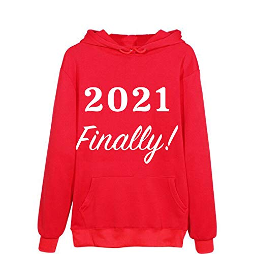 Sokmoop Women's Hoodie Sweatshirt Pullover Letter Print Long Sleeve Shirts Blouse Sweaters Tunics Tops Outwears Overcoat Outwear Water-Resistant Padded Cotton Trimmed Zipper(Red,XL)
