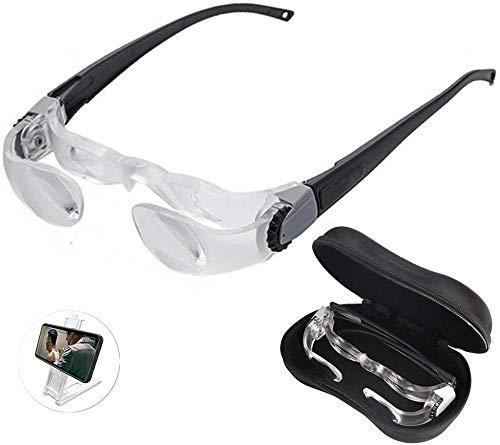 HQSF Lupenbrille 2.1X Einstellbare Lupe, Faltbare Fernglasbrille Lupenbrille Freisprecheinrichtung Lesehilfe Vergrößerungswerkzeuge 0-300 Grad TV Sehbehinderte Lupe Kopflupe