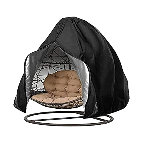 Errum Copertura per sedia sospesa 210D, Oxford Egg Patio, rivestimento per sedia sospesa, impermeabile, anti-polvere, antivento, con chiusura lampo (230 x 200 cm, nero)