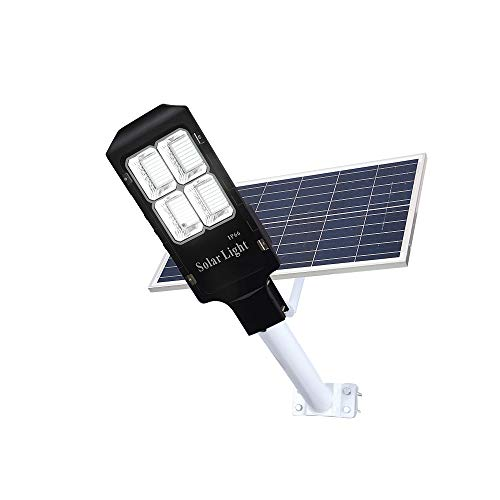 150W LED Solar Street Lights, Outdoor Dusk to Dawn Pole Light with Remote Control, Waterproof, Ideal for Parking Lot, Stadium, Yard, Garage and Garden (Cool White)