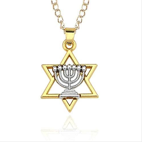 ZGYFJCH Co.,ltd Collar Moda Menorah Religiosa Collar y Estrella de judía Collar Hebreo Israel Lámpara de fe Hanukkah Collares Pendientes Collar Colgante Niñas Niños G