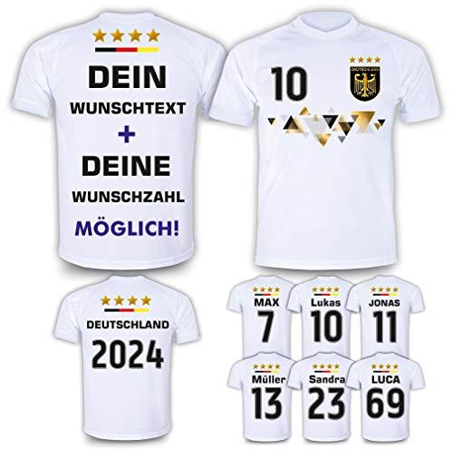 DE FANSHOP Deutschland Trikot mit Hose & GRATIS Wunschname + Nummer #D11 2021/2022 EM/WM Weiss - Geschenk für Kinder Jungen Baby Fußball T-Shirt personalisiert