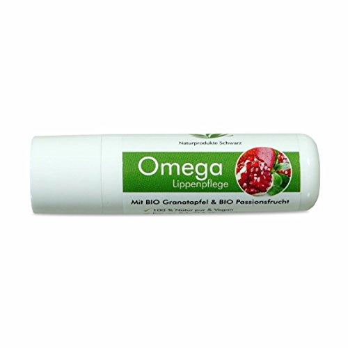 Naturprodukte Schwarz - Omega Lippenpflege mit BIO Granatapfel & BIO Passionsfrucht - Vegan, ohne Mineralöl - 4,8g