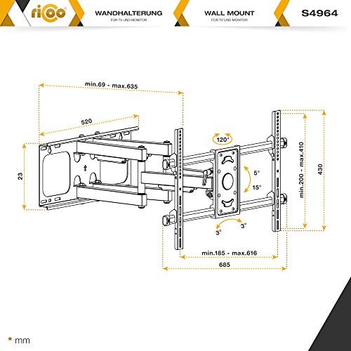 RICOO S4964 Support Murale TV Orientable Inclinable Universel 42-75
