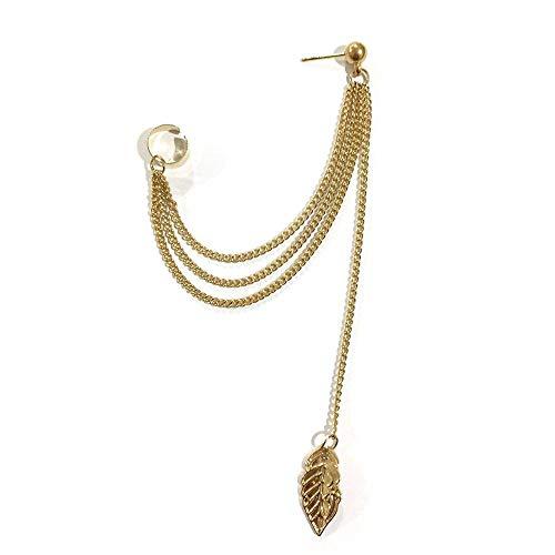 Pendientes de clip con cadena dorada