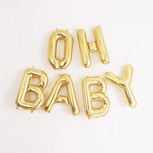 """Oh Baby Balloons Baby Shower & Pregnancy Decorations - 16"""" Rose Gold, Silver, Gold Baby Balloon Letters with Blow Up Straw & 30 Feet of Hanging Ribbon – Reusable Set of 6 Letter Balloons (Gold)"""