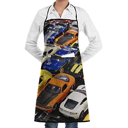 Color Sports Car Grill Aprons Kitchen Chef Bib - Professional for BBQ Baking Cooking for Men Women Pockets Waitress Aprons