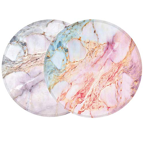 LESHIRY Mouse Pad, Round Mouse Mat, Cute Mouse Pad with Design, Non-Slip Rubber Base Mousepad with Stitched Edge, Waterproof Office Mouse Pad (Marble 2Pack)