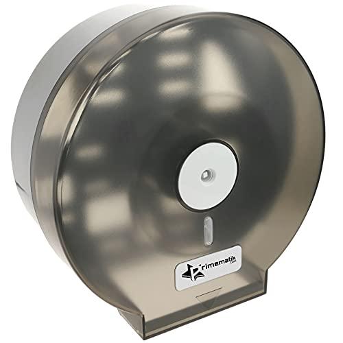 PrimeMatik - Distributore di Carta igienica. Porta Rotolo Industriale Nero per Il Bagno 268x123x273mm