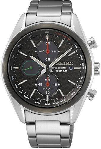 Seiko Reloj cronógrafo con esfera negra para hombre de acero inoxidable SSC803