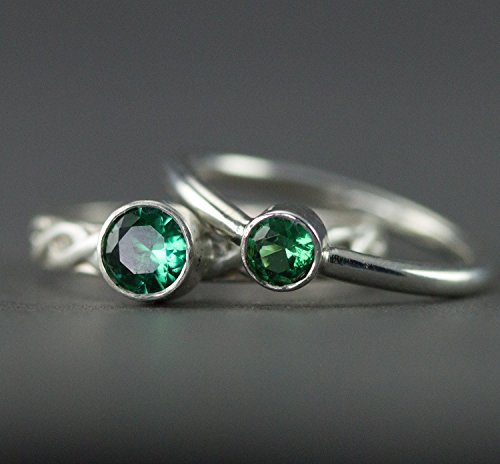 Emerald Sterling Stack Ring - May Birthstone Ring - Lab Created Emerald - Custom Band Choices