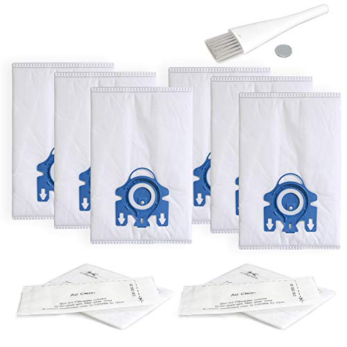 Replacement Airclean GN 3D Bags Compatible with Miele Classic C1, Complete C1, Complete C2, Complete C3, S227/S240, S270,S400,S2,S5,S8 Series Canister Vacuum Cleaner (6 Pack Dust Bags + 2 Set Filters)