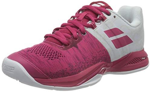 BABOLAT Propulse Blast Clay Women, Zapatillas de Tenis Mujer, White/Vivacious Red, 36 EU