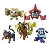 5Pcs Pokemon Doll Charmander Popplio Litten Pikachu Rowlet Treecko Eevee Fennekin Anime Action Figure Toy Decor 3-7 Cm