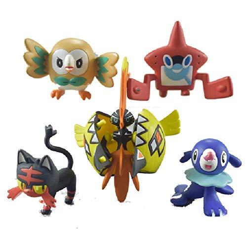 5 Stks Pokemon Pop Charmander Popplio Litten Pikachu Rowlet Treecko Eevee Fennekin Anime Action Figure Speelgoed Decor 3-7 Cm
