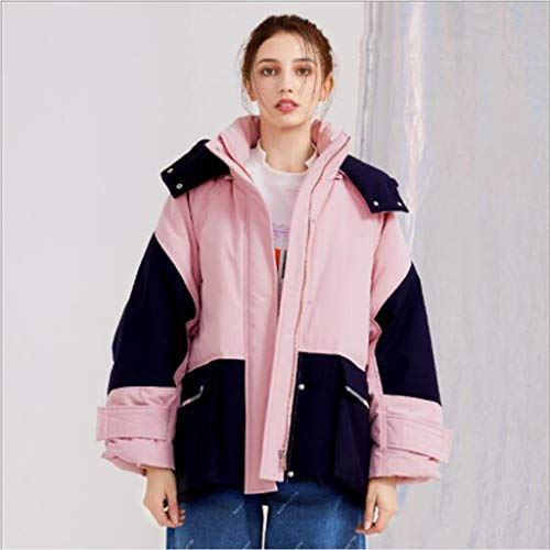 Vrouwen capuchon donsjack, jas Star/Workwear korte paragraaf, met klittenband verstelbare manchetten, winddicht en warm 90% witte eendendons, 1pc (Color : Light pink, Size : S)