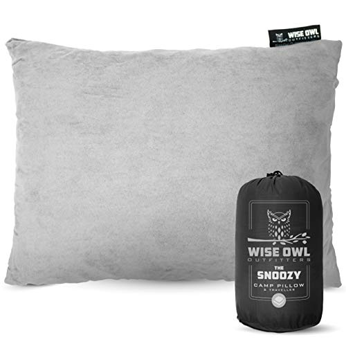 Wise Owl Outfitters Camping Pillow Compressible Foam Pillows – Use When Sleeping in Car, Plane Travel, Hammock Bed & Camp – Adults & Kids - Compact Small & Large Size - Portable Bag - SM Grey