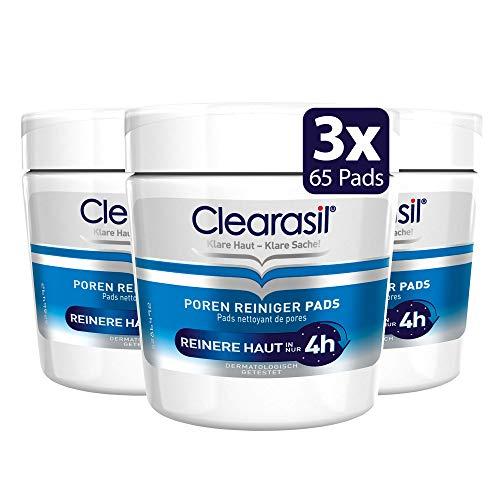 Clearasil Poren Reiniger Pads, Gegen Pickel und Hautunreinheiten, 3er Pack (3 x 65 Pads)