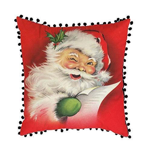 Hffan Weihnachtskissenhüllen, Baumwolle Leinen Drucken Kissen Kissenbezüge Dekorative Kissenhülle Für Sofa Büro,45 x 45cm (C).