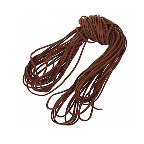 RRunzfon 2MM Plano por Hilos de Cuero de Encaje Bordoneado Hilo de Cuerda para la joyería Collar de la Pulsera DIY de 55.7Ft - Rojo Café, Decoraciones y Accesorios de Moda