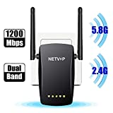 2020 Upgraded 1200Mbps WiFi Extender, 2.4G & 5G NETVIP Wi-Fi Signal Booster Wireless Long Range Repeater, 360 Degree Wide Coverage Eliminate WiFi Dead Zones, 2 External High Gain Antennas,Simple Setup