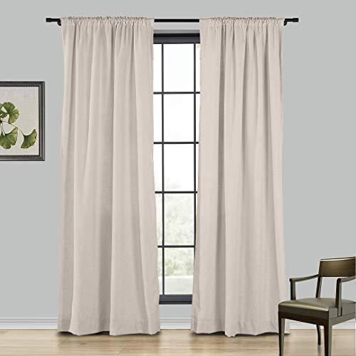 Bowcore 183cm Breite x305cm Länge,Rod-Taschen Vorhänge, Polyester Verdunkelungsvorhänge für Wohnzimmer und Schlafzimmer,Rosa Limonade