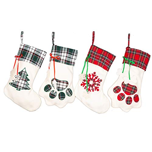 SmileWay 17 Inches Buffalo Plaid Pet Christmas Stocking 4 Pack, Dog Cat Paw Printed Xmas Stocking for Family Farmhouse Holiday Decorations Stockings