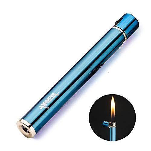 QIANGUANG Zigarette geformt Butan nachfüllbar Feuerzeug Feuer Starter mit Sicherung Flints Geschenke für Männer Frauen Dame (Blau)