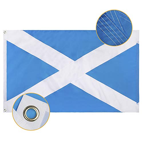 FLAGBURG Scotland Flag 3x5 FT,Scottish Flag with Sewn Stripes, Canvas Header & Brass Grommets, Vivid Color, Triple Stitching, High-Grade Outdoor Nylon Saint Andrew's Cross Flags for All-Weather