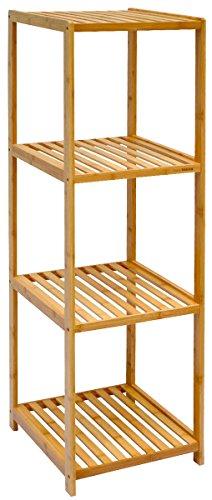 DuneDesign XL Bambus Holz Regal 124,5 x 38 x 39,5 cm 4 Fächer Stand-Regal Badezimmer Ablage Küchen Aufbewahrung Badregal
