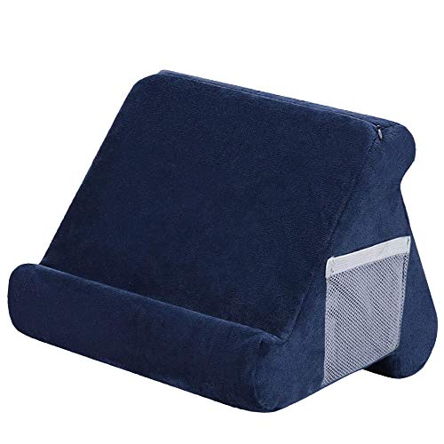 Multi-Angle Soft Pillow Lap Stand Tablet Cushion Pillow Stand, Portable Wedge Holder Triangle Couch Pillow for Tablets eReaders Books, Used On Bed Desk Sofa Car (Navy)