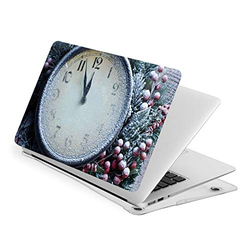 VOROY Laptop Pro 13/15 Case Air 13 Case Durable Full-Width Printed Pvc Case For Pro 13: Fits A1706, A1708, A1989, A2159.The New Air 13 Fits A1932.-Christmas_ New Year_ Clocks_ Snow_ Berries_ Wreaths