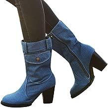 Aniywn Women's Mid Calf Denim Boots Chunky High Heels Boots Zipper Buckle Combat Boots Shoes