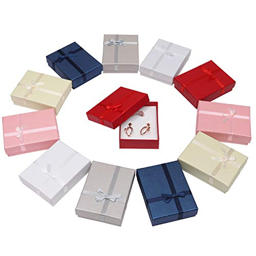 Pakket van 12, Juwelen Kado Doosjes Voor Presentjes, 6 Kleuren, Stirk, Kado Doos, met Deksel, (8.5cm x 6.5cm x 2.5cm) Kartonnen Kado Doos Velours Inleg Voor Ring en Ketting, Oorbellen Armband Vrouwen