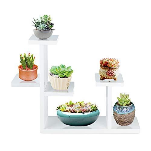 Fittoway Mini Pflanzenständer Holz Mehrschichtiger Klein Blumenregal Tischplatte Blumenständer Garten für den Innen Balkon Fensterbank 39.5x9.5x33cm (Weiß)