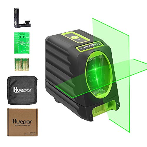 Selfleveling Laser Level  Huepar Box1G 150ft/45m Outdoor Green Cross Line Laser Level with Vertical Beam Spread Covers of 150° Selectable Laser Lines 360° Magnetic Base and Battery Included