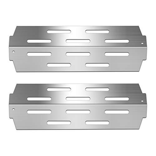 Zemibi Grill Heat Deflectors BBQ Replacement Parts for Weber 66041, Genesis II E-410, S-410, Genesis II LX E-440, Genesis II LX S-440 Grill Model, 2-Pack Heavy Duty Stainless Steel Heat Plate, 12 1/2'