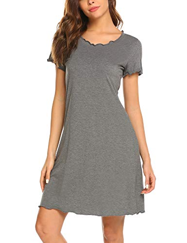 Lucyme Damen Basic Nachthemd mit Kräuselrändern Kurz Nachtkleid Kurzarm Sleepshirt, EU 40(Herstellergröße: L), 150 Grau