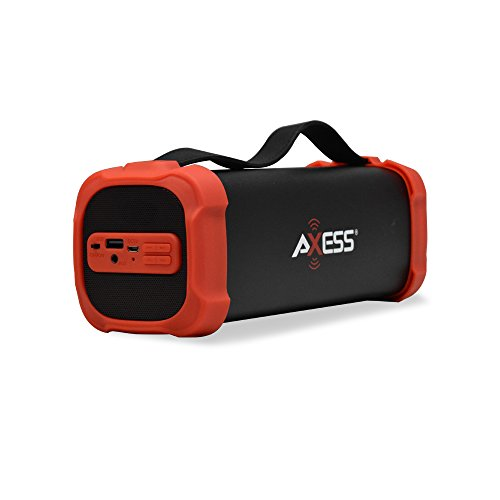 Bluetooth Speaker with USB, Built-In 3.5mm Line-In Jack Rechargeable Battery and Subwoofer Red. Axess SPBT1073 Portable Indoor/Outdoor Bluetooth Speaker