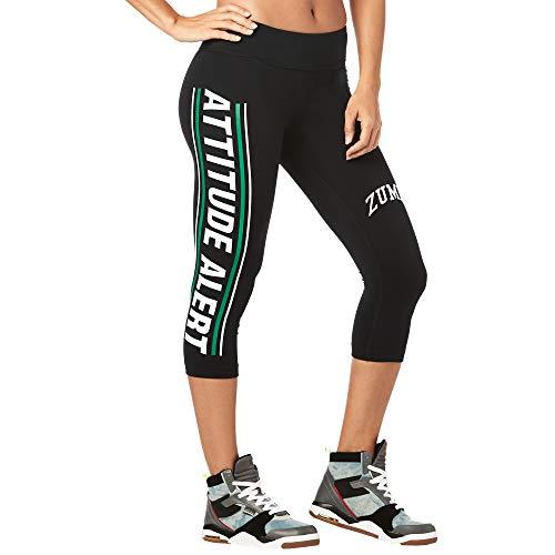 Zumba Fitness Leggings con Stampa a Compressione per Allenamento a Fascia Larga Pantaloni Donna, Basic Bold Black, XS