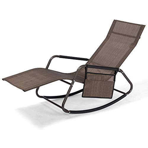 Mansion Home Outdoor Chaise Recliner, Oversized Zero Gravity Chair for Patio & Lawn, Lounge Reclining Chairs for Outside Pool & Beach, Chaise Lounge, Brown