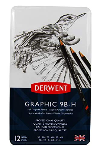 Derwent Graphic Bleistifte weich 9B-H in Metallbox