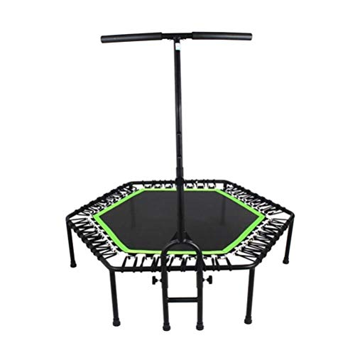 Foldable Trampoline with Handle Mute Trampoline, Adult Home Aerobic Fitness Training Rebounder Trampoline, with T Handle Zero Gravity Safety Bouncer Load: 400kg for Exercise and Burning Fat Indoor