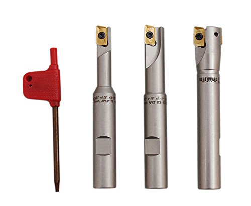 Accusize Industrial Tools 3 Pc 90 Degree Indexable End Mill Set with Apkt11t3 Inserts, Cutter Diameter Includes 3/8'', 1/2'' and 5/8'', 0028-8308
