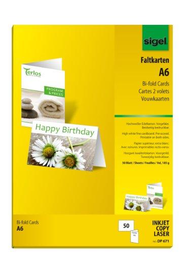 SIGEL DP671 Faltkarten A6 hochweiß, 50 Stück, 185 g