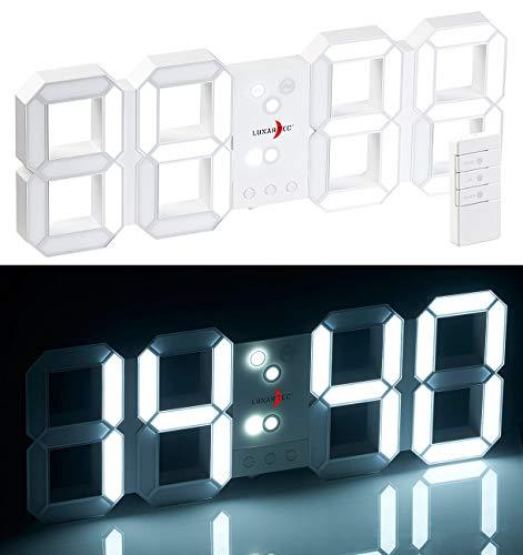Lunartec Jumbo LED Uhr: Funk-LED-Tisch- & Wanduhr, großen Ziffern, Wecker, dimmbar, 45 cm (Digitaluhren)