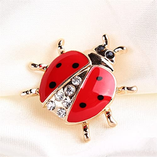YAOLUU Broches y alfileres Broches de Moda de los broches de Moda Pin Rhinestone Ladybug Broche para joyería de Las Mujeres Broche de Moda
