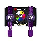 bodypride Premium Lazy Laces [ 12 Farben ] Elastische Schnellverschluss - Schnürsenkel ohne Binden | Schnellschnürsystem mit Reflektoren für Sport, Marathon, Triathlon, Kinder, Senioren | Violett